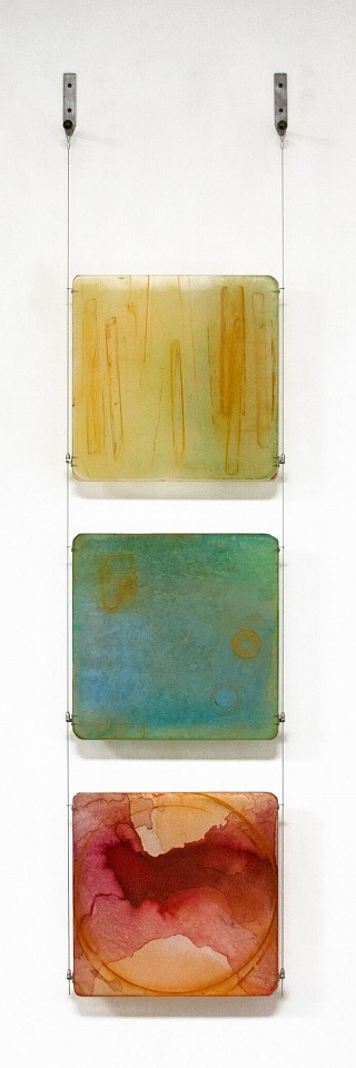 Carrie McGee, Innermost Oxidized metal, acrylic & metal leaf on acrylic panels