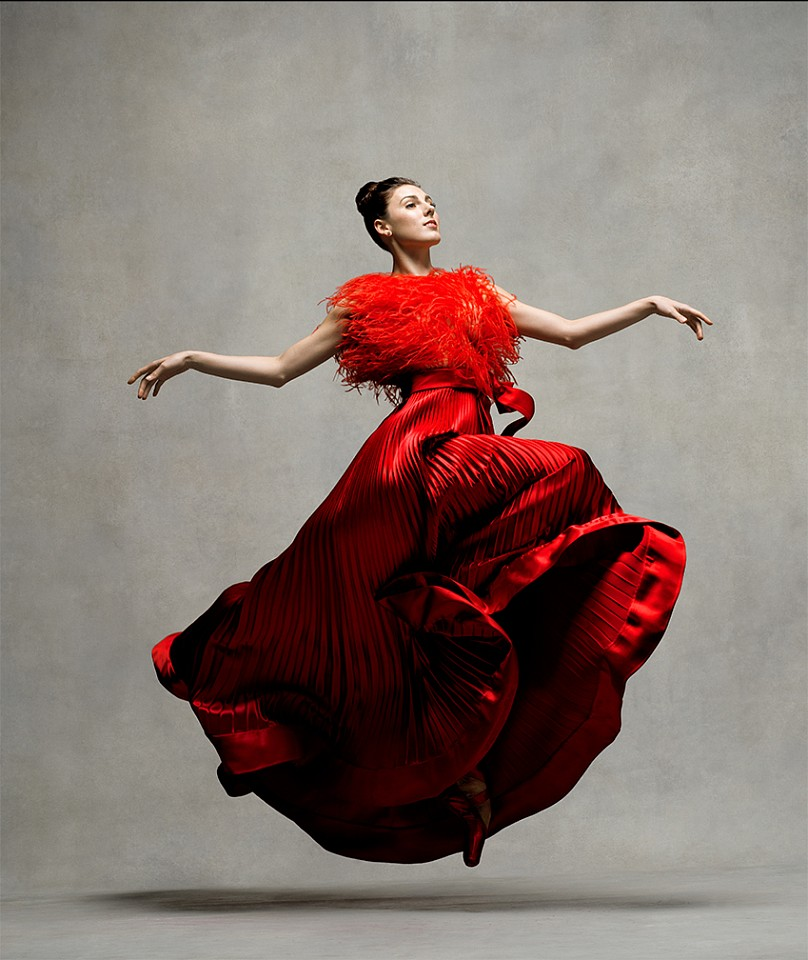 Ken Browar & Deborah Ory, Tiler Peck (in red Valentino) Dye sublimation print on aluminum
